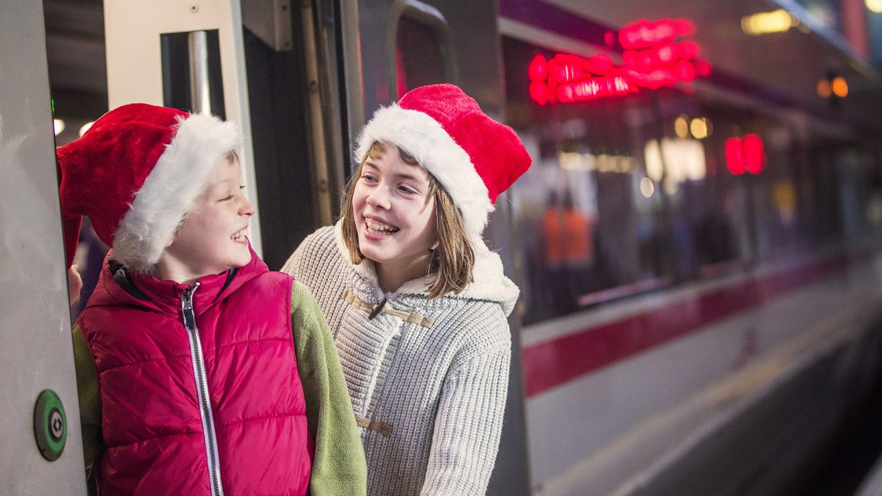 Children on Enterprise Train at Christmas