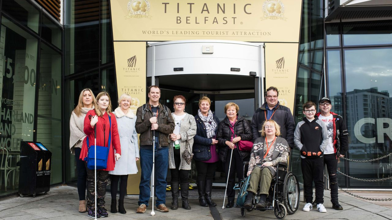 Visitors using wheelchairs while visiting Titanic Belfast