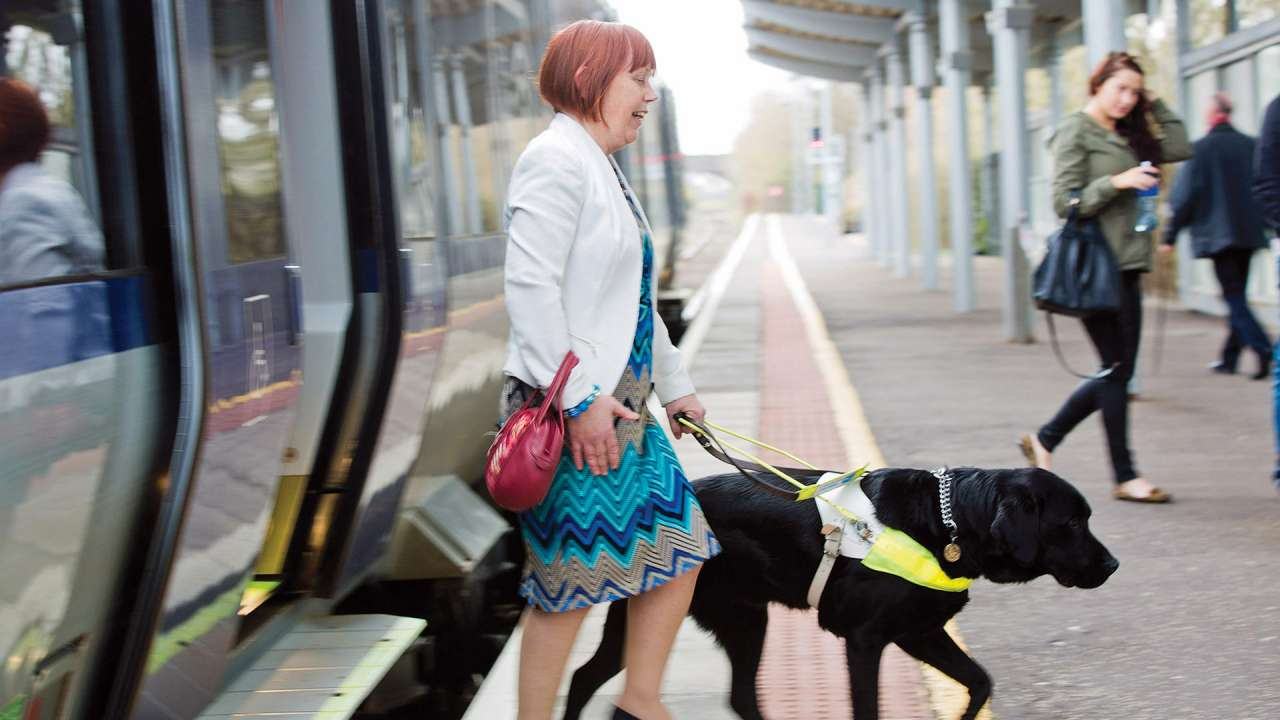 Women with Guide Dog using Translink Train.jpg
