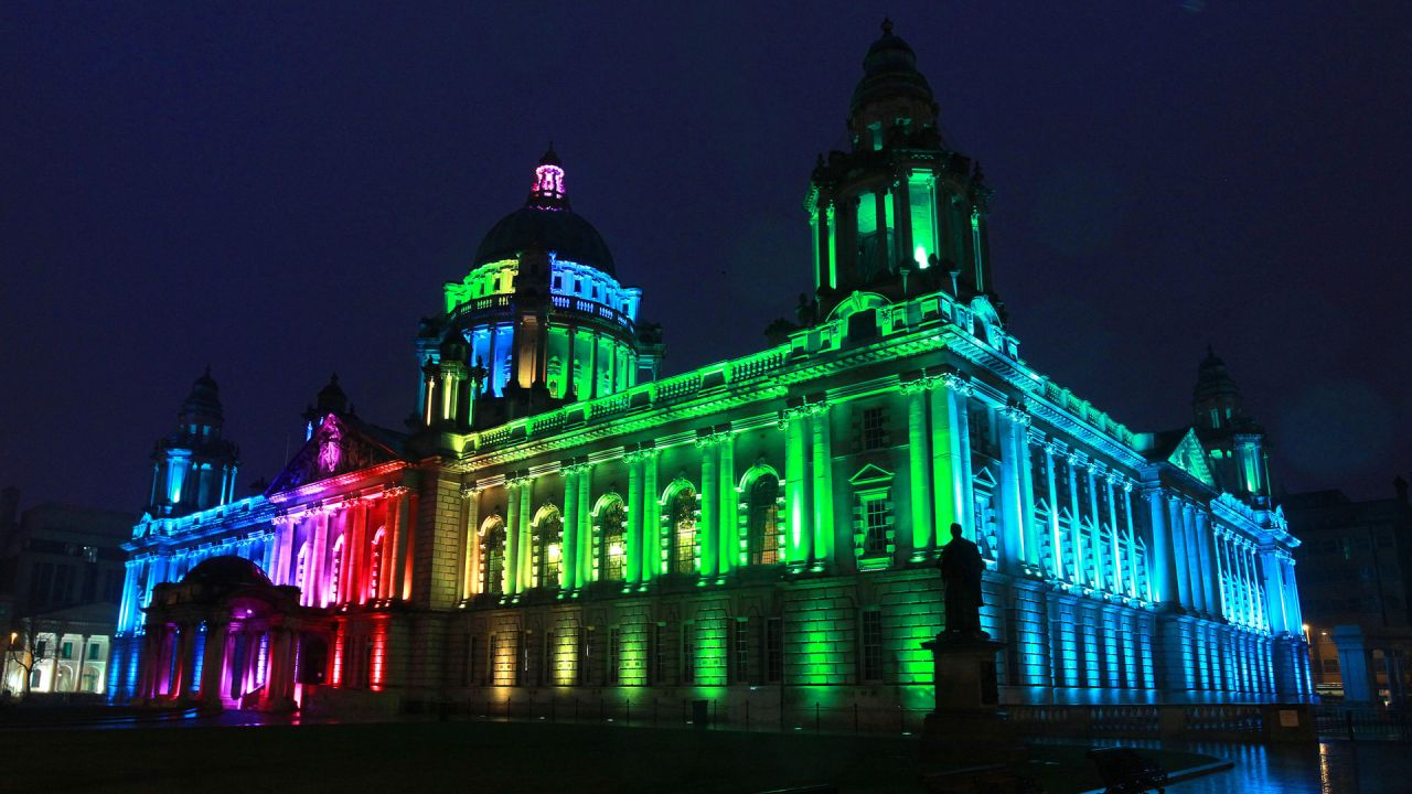 Belfast City Hall lit up in rainbow colours